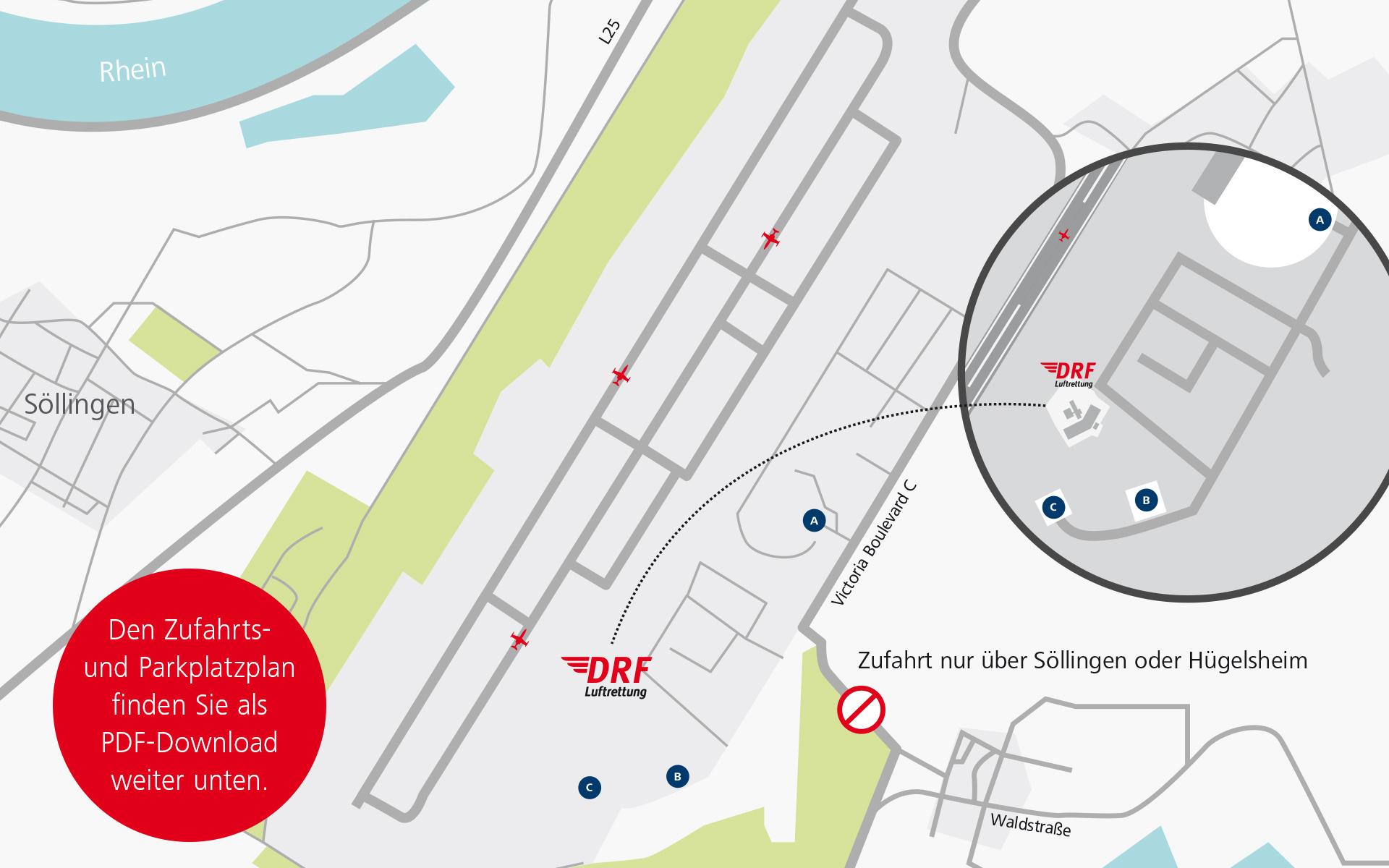Es stehen drei kostenlose Parkplätze zur Verfügung (ausgeschildert mit A, B und C). Von diesen fahren Shuttlebusse im 10-Minuten-Takt zum Veranstaltungsgelände. Den vollständigen Zufahrts- und Parkplatzplan finden Sie weiter unten zum Download.