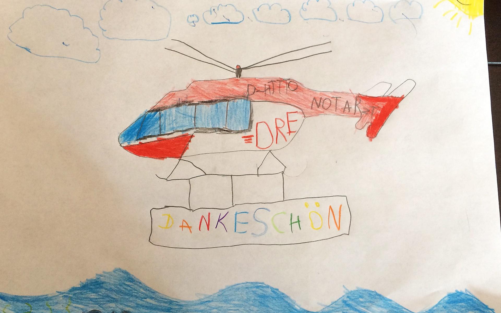 """Nach Joosts Genesung schickte die Familie ein """"Dankeschön-Paket"""" an die DRF Luftrettung in Bremen und das Team von Christoph Weser. Darin war auch dieses Bild, das Bruder Matti gemalt hat."""