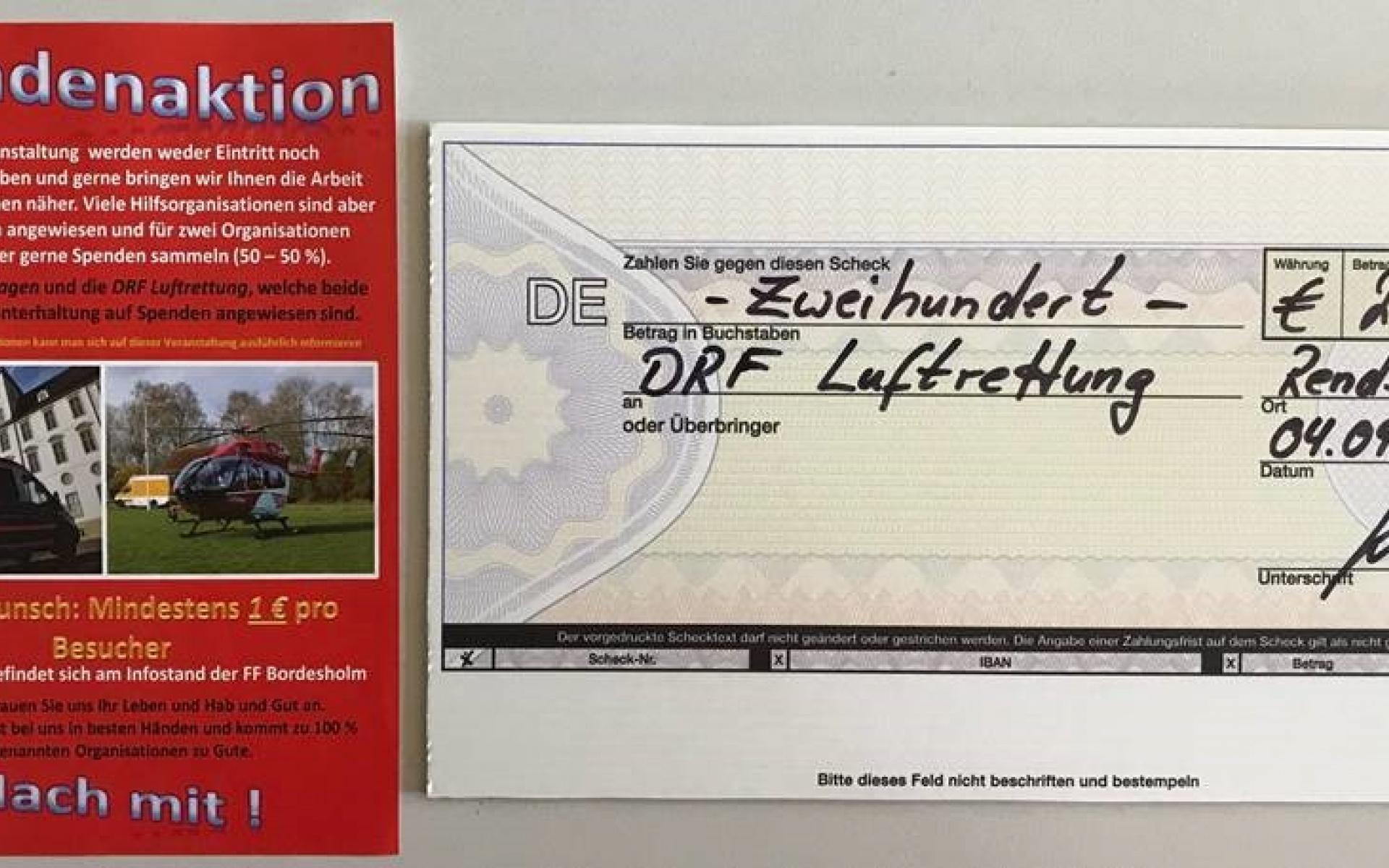 Beim Helfertag wurden Spenden für zwei Hilfsorganisationen gesammelt. Die DRF Luftrettung erhielt zweihundert Euro.