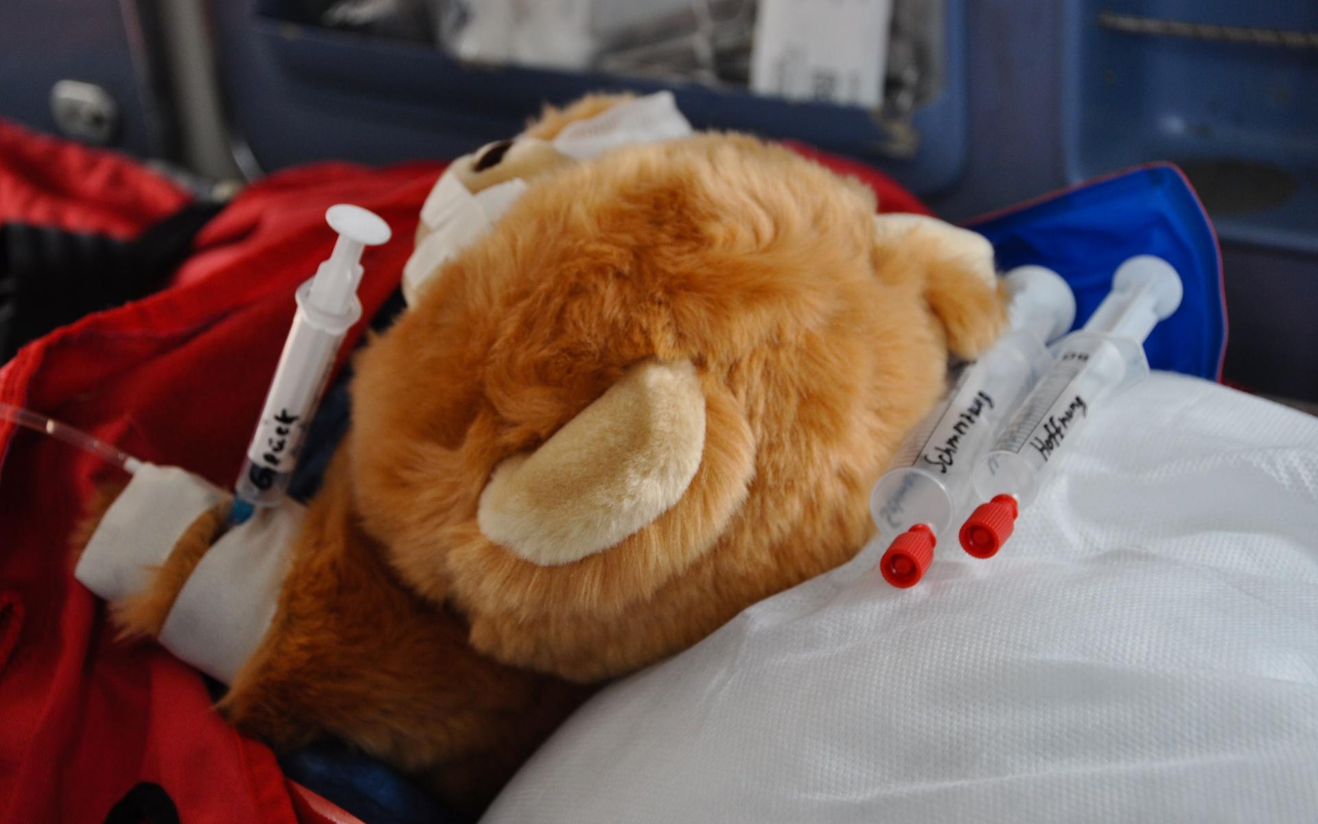 Immer mit an Bord: Der Trösteteddy der DRF Luftrettung steht Kindern im Notfall bei.