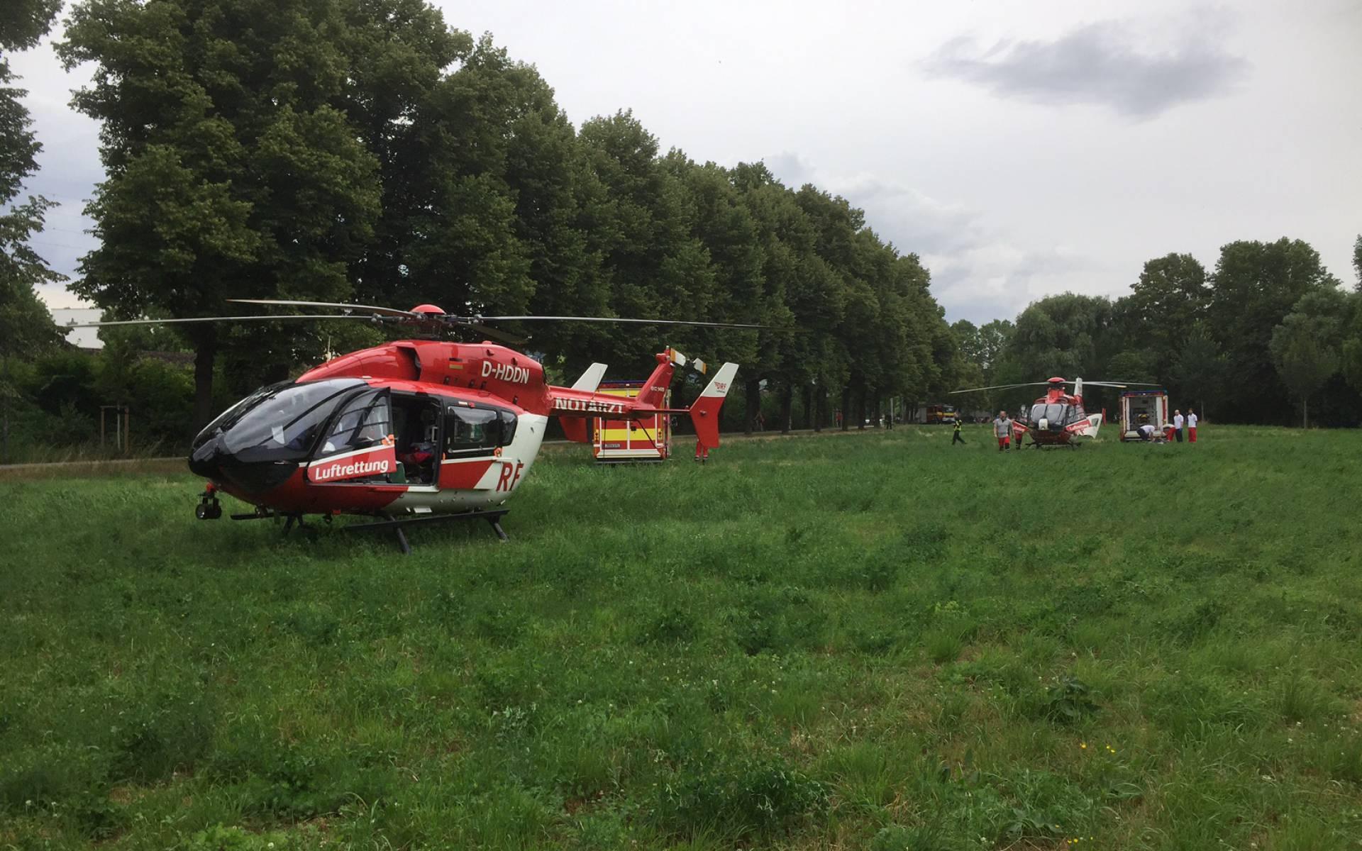 Christoph Thüringen und Christoph 60 aus Suhl waren im Einsatz, nachdem sich zwei Arbeiter schwer an den Augen verletzt hatten.