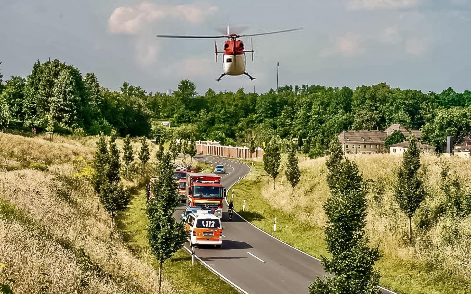 Einsatz für Christoph Dortmund auf einer Umgehungsstraße im Norden Dortmunds. Foto 112.de.