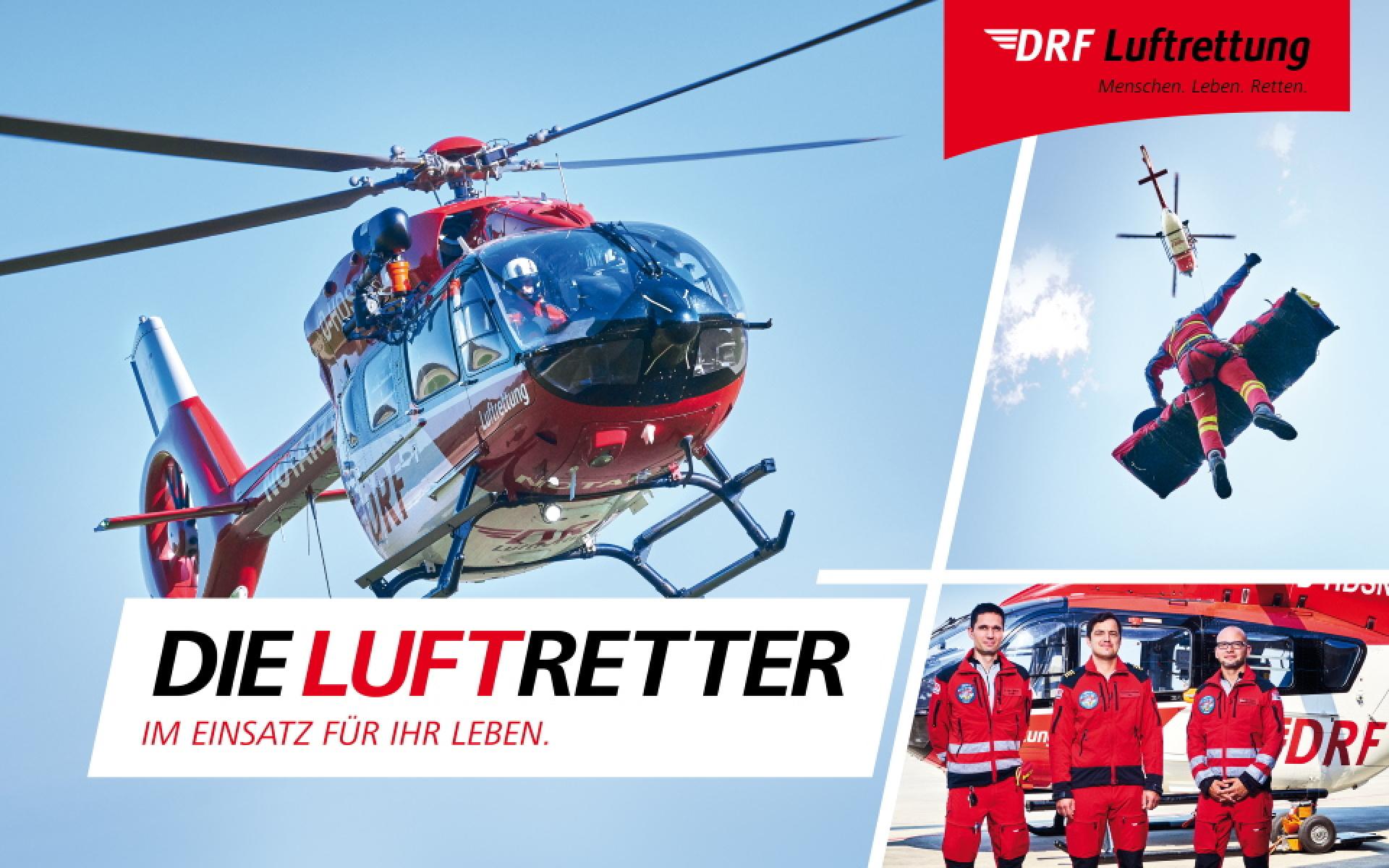 In Bautzen standen stellvertretend für das gesamte Team Notarzt Dr. Heinz Brehme (links), HEMS-TC Martin Bosch (rechts) und Pilot Sebastian Schröder vor der Kamera.