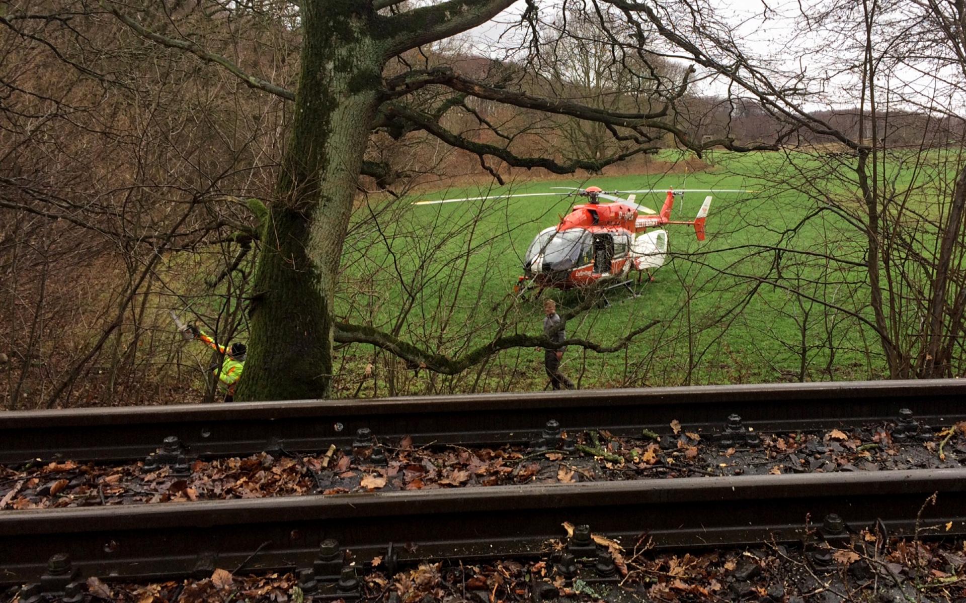 """Schwerste Verletzungen erlitt ein Arbeiter, als er von einem Hubsteiger fiel. Die Luftretter mussten auf dem Weg zum Patienten die Gleise des """"Rasenden Rolands"""" überqueren."""