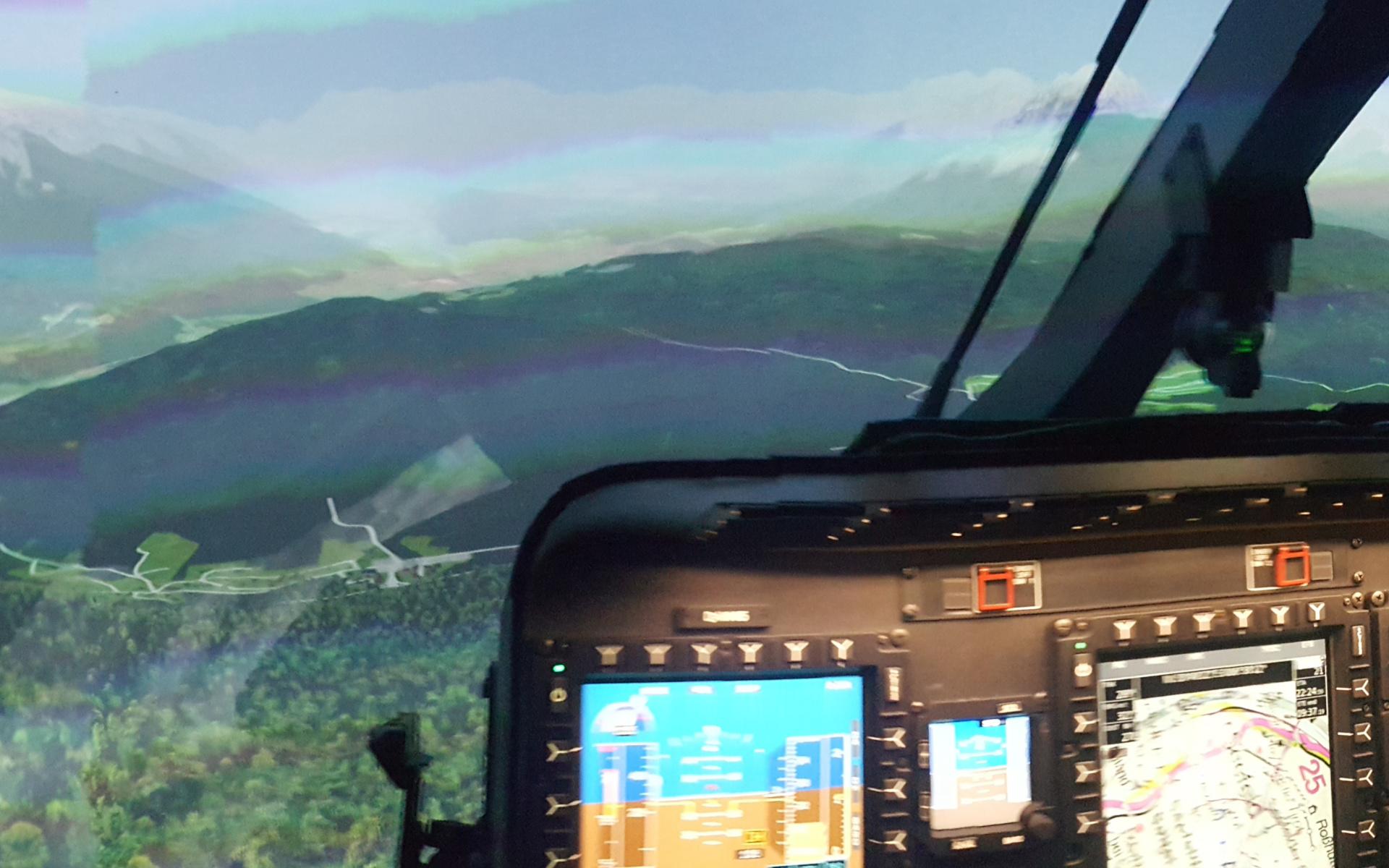 Blick aus dem Simulator-Cockpit