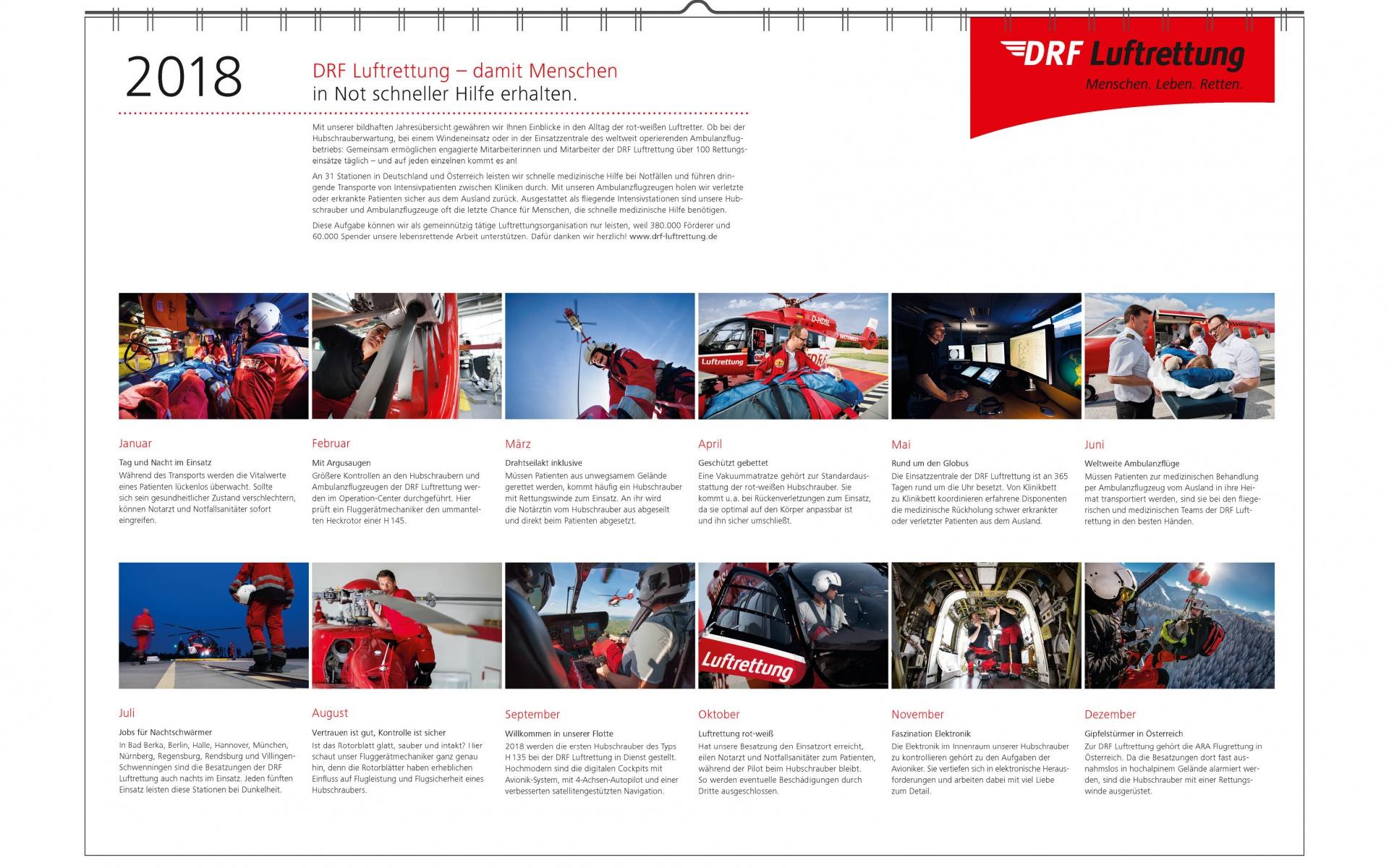 Einen spanndenen Überblick über die vielfältige Arbeit innerhalb der DRF Luftrettung bietet der neue Wandkalender 2018.