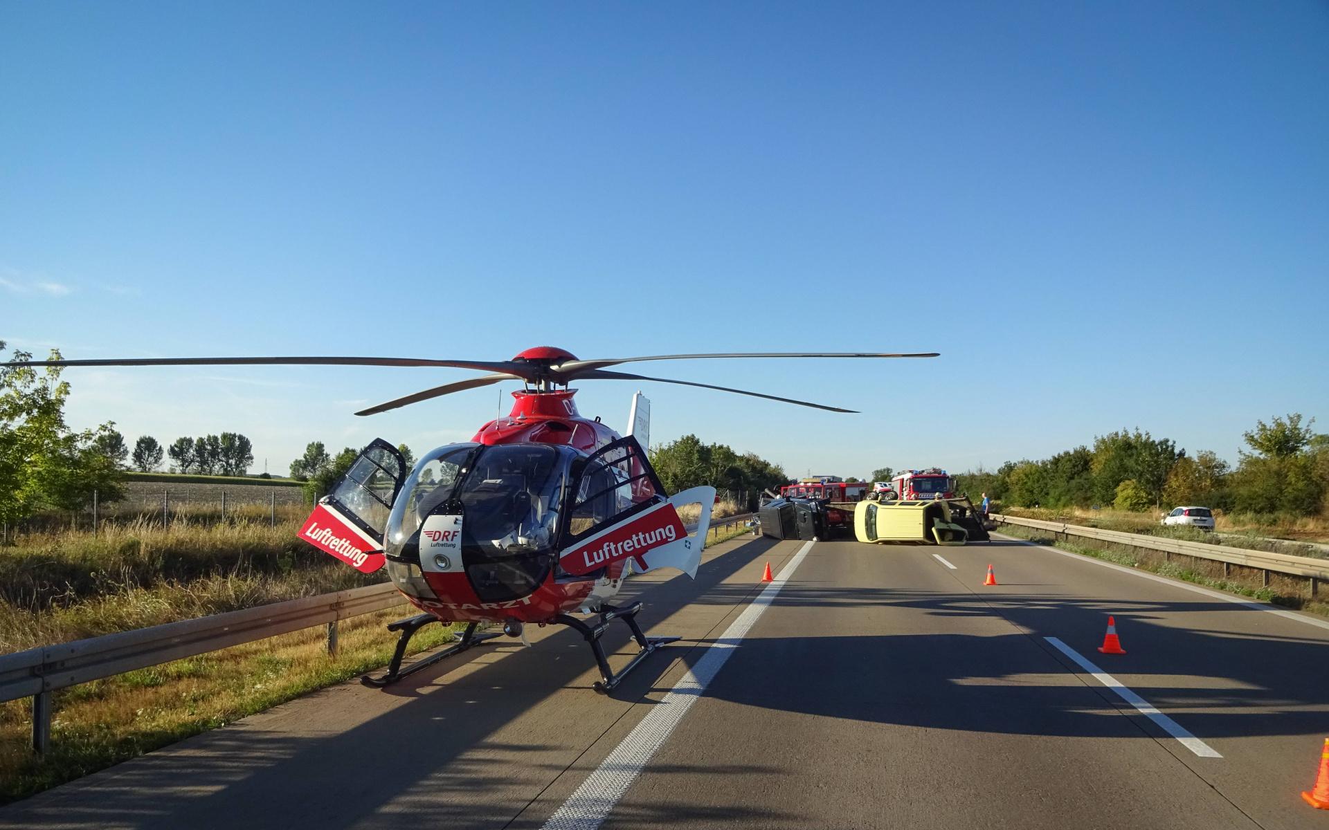 Immer wieder bei schweren Autobahnunfällen im Einsatz: Christoph 36 der DRF Luftrettung. Symbolbild.