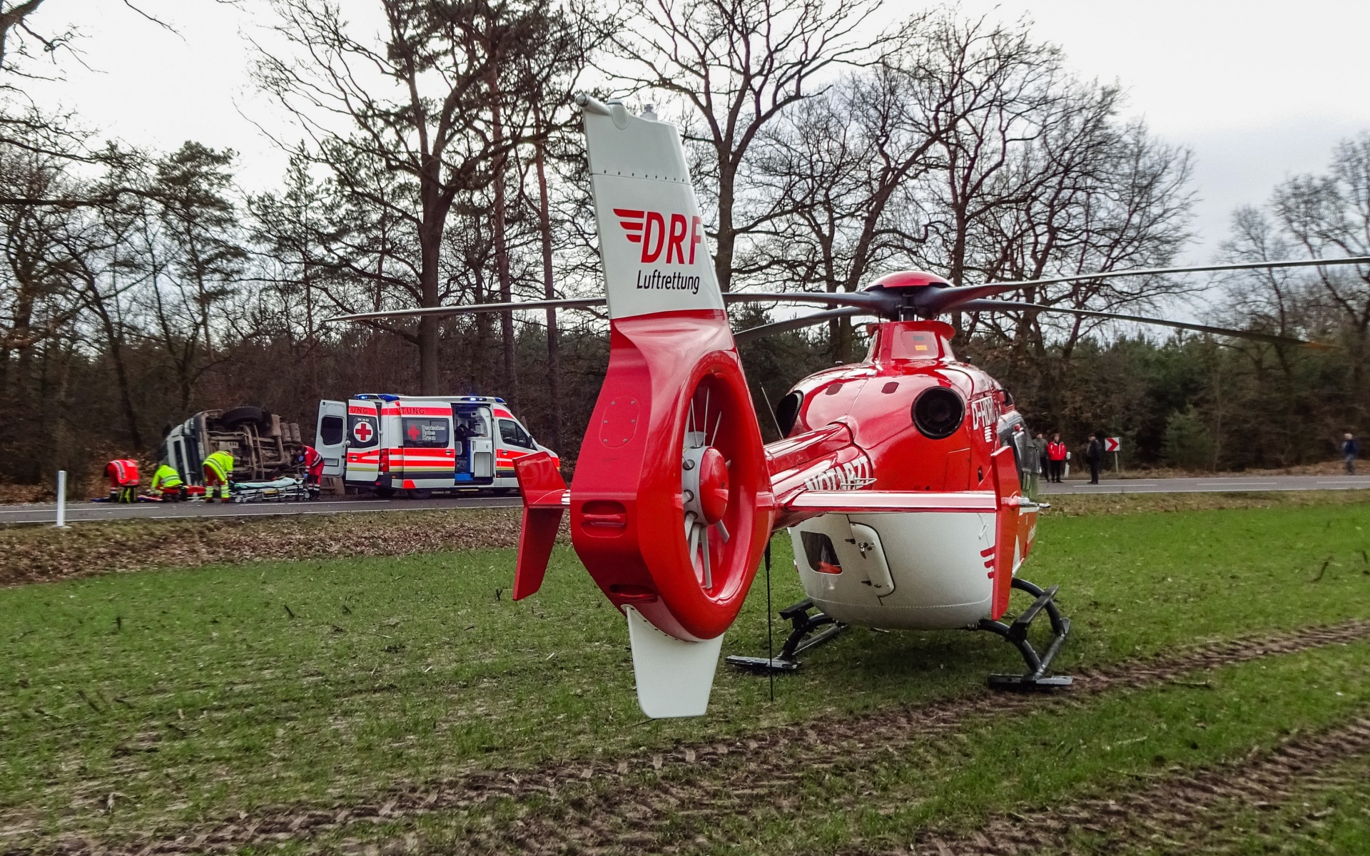 Schwerer Unfall mit einem Landwirtschaftlichen Fahrzeug bei Schweinitz.