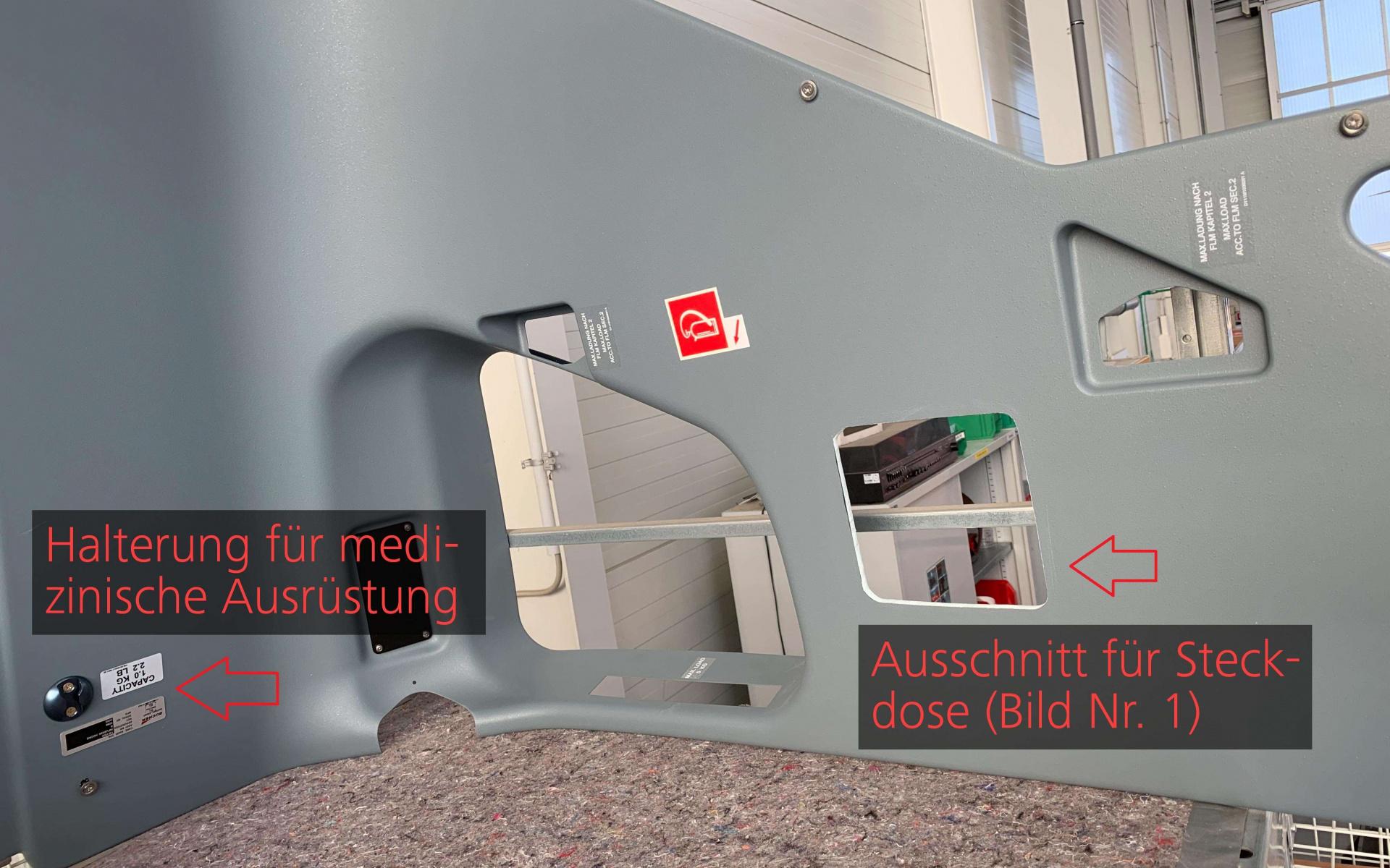 In den Innenraumwänden wurden Steckdosen und spezielle Halterungen für die medizinische Ausstattung angebracht.