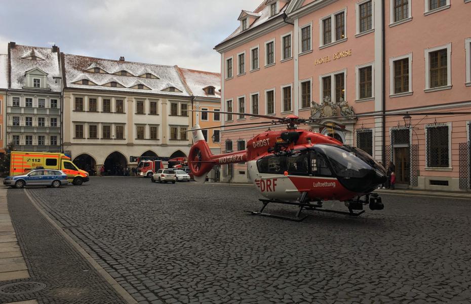 Landung vor historischer Kulisse: Christoph 62.
