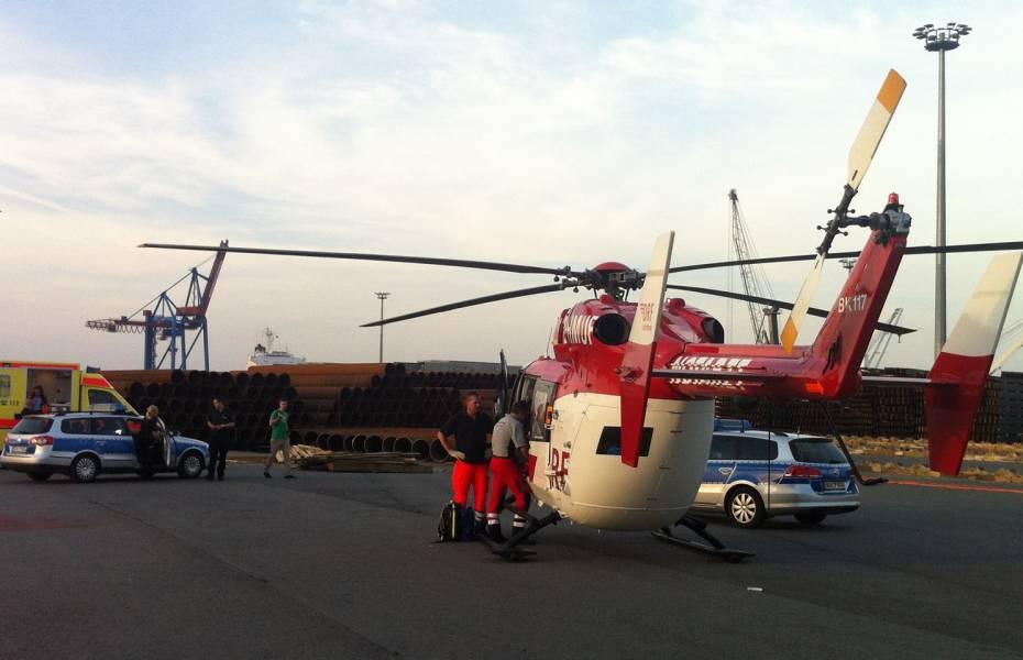 Christoph Weser beim Einsatz am Hafen in Brake