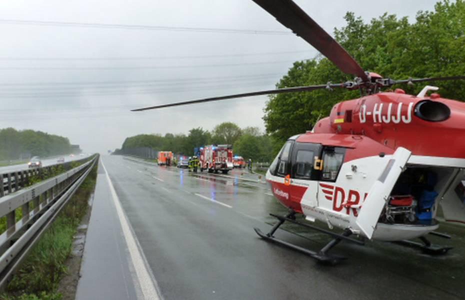 Christoph Dortmund ist am Einsatzort gelandet. Die Autobahn musste gesperrt werden.