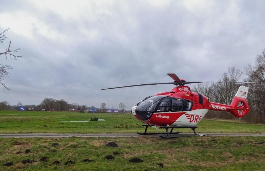 Die neu in Dienst gestellte H 135 in Aktion: Ein schwerverletzter Autofahrer benötigte an Heiligabend schnelle notärtzliche Hilfe.