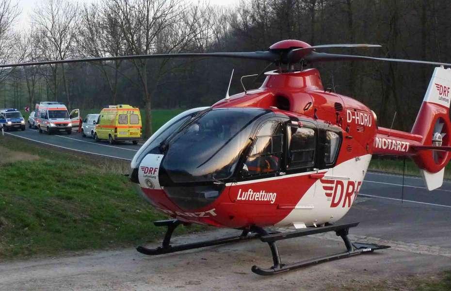 Der Nordhäuser Hubschrauber der DRF Luftrettung wurde als schnelles und schonendes Transportmittel angefordert.