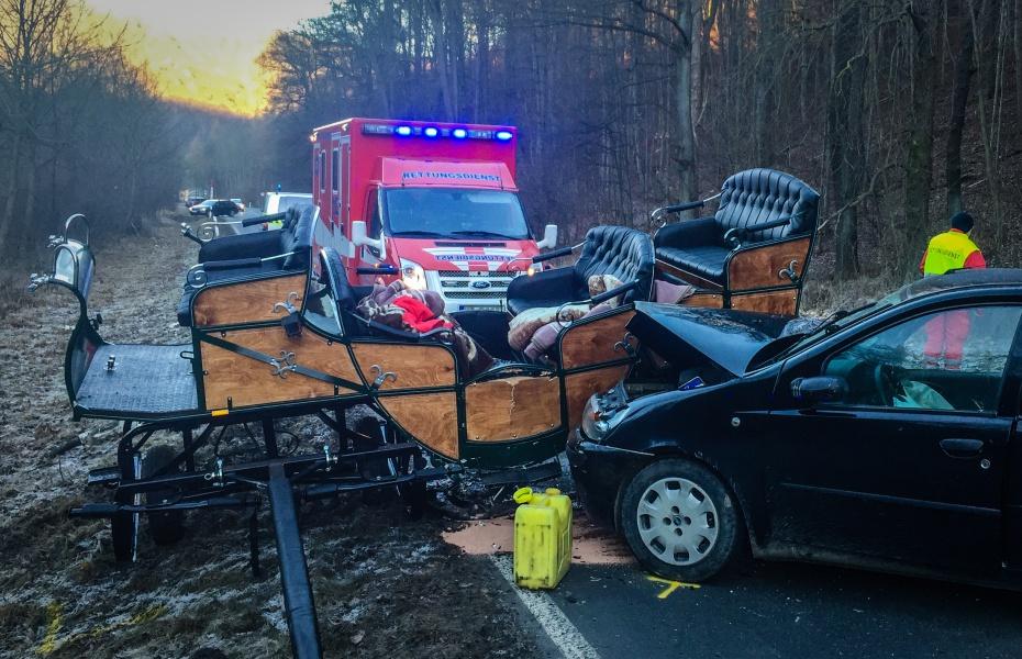 Durch den Unfall hatten sich neben den beiden Pferden sechs Personen versetzt, einer davon schwer.