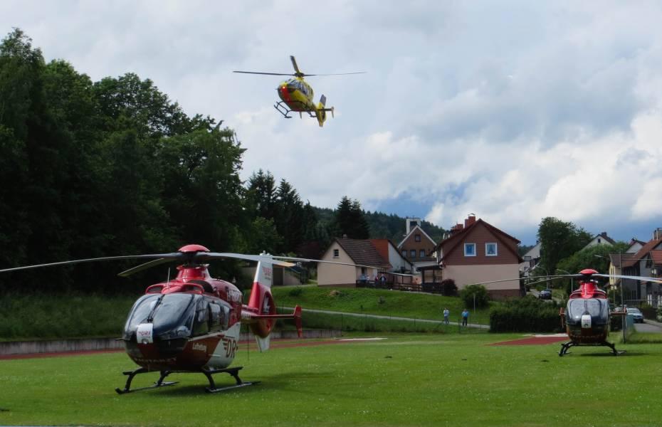 Ein Großaufgebot an Rettungskräften war Mitte Juni in Bad Sachsa im Einsatz. Auch die Crews von Christoph 37 und Christoph 44 versorgten Patienten.