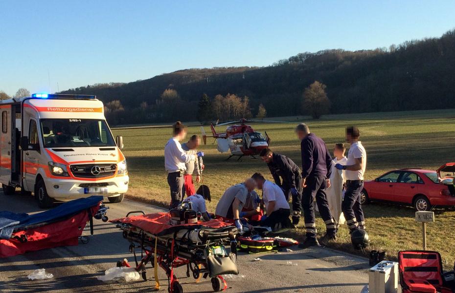 Nach nur sieben Minuten treffen die Stuttgarter Luftretter am Unfallort ein - und landen sicher auf einer großen Wiese neben der Straße.