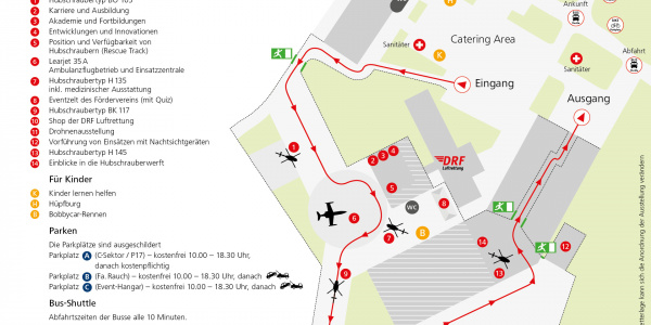 Plan des Veranstaltungsgeländes. Die Parkplätze finden Sie auf dem nächsten Bild (bitte blättern)...