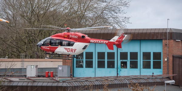 Der neue Chrisph 42 landet an der Rendsburger Station der DRF Luftrettung