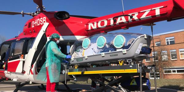 Die Luftretter bei einem Einsatz mit dem EpiShuttle.