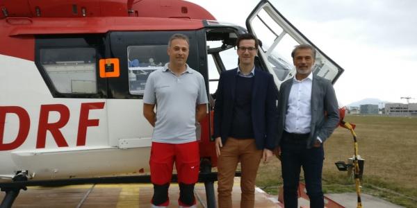 Martin Horn, seit Juli Oberbürgermeister der Stadt Freiburg, besuchte Christoph 54 und hatte viele Fragen mitgebracht.