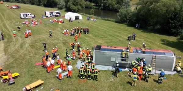 Simuliert wurde unter anderem ein Busunfall mit vielen Verletzten.