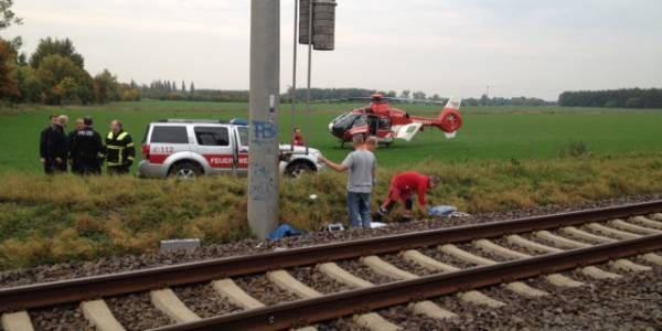 Christoph 36 landete auf einer Wiese neben der Unfallstelle