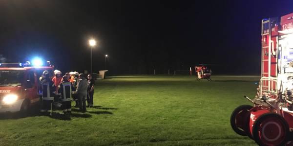 Junge stürzt aus Fenster. Nachteinsatz für Rendsburger Hubschrauber Christoph 42