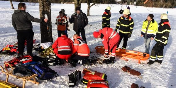 Schnelle Hilfe aus der Luft für eine Frau, die mit ihrer Familie zum Schlittenfahren war. Bei einer Kollision mit einem Baum verletzte sie sich schwer.